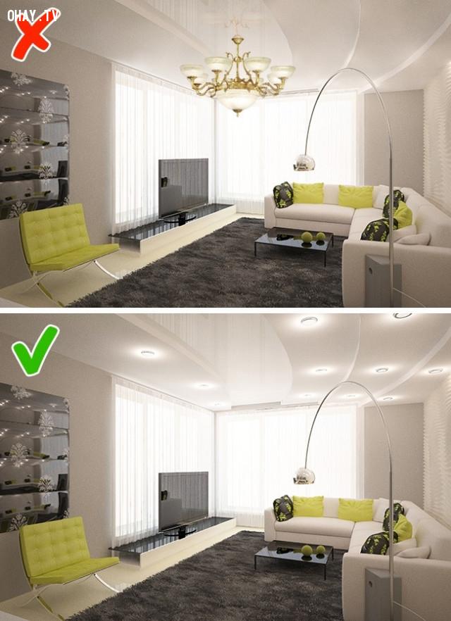 3. Phân bố ánh sáng đồng đều,lựa chọn nội thất,sắp xếp nội thất,trang trí nhà cửa