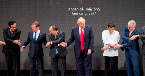 Cười sặc với loạt ảnh bối rối của tổng thống Trump trước màn bắt tay kiểu ASEAN