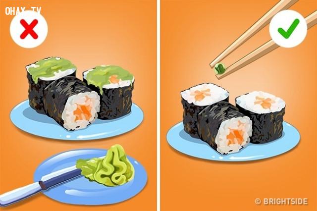 Wasabi (Mù tạt),cách ăn đúng,thưởng thức đồ ăn,cách ăn sushi