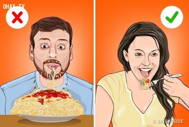 Mỳ pasta,cách ăn đúng,thưởng thức đồ ăn,cách ăn sushi