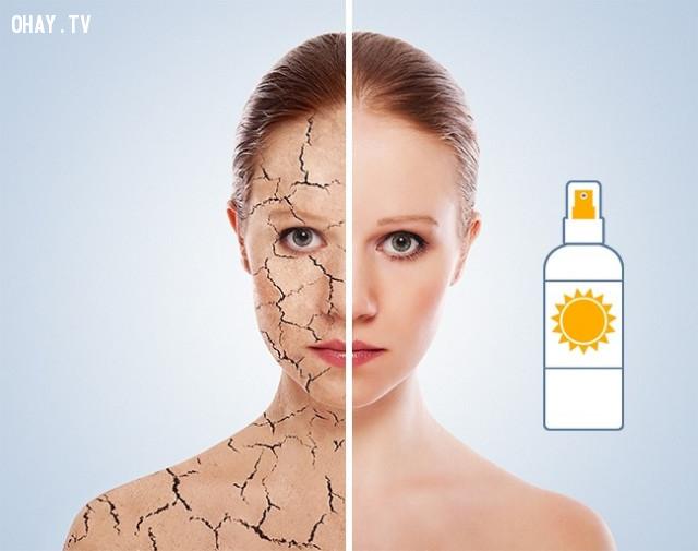 3. Sử dụng nước xịt khoáng chăm sóc khi da bị khô,chăm sóc da