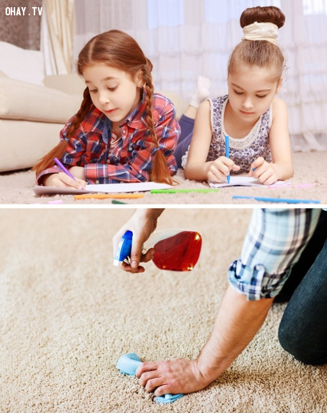 Tẩy vết bẩn trên thảm,