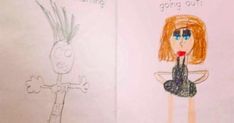 9 bức ảnh hài hước những đứa trẻ vẽ về ba mẹ chúng