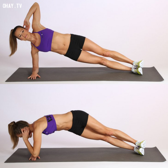 2. Plank crunch - sideways,