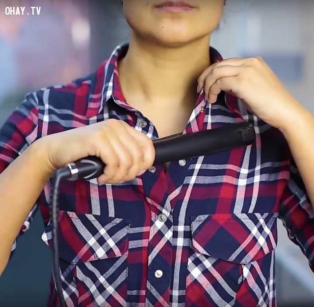 11. Máy duỗi tóc giúp bạn xử lý nếp nhăn trên quần áo một cách nhanh gọn!,mẹo hay