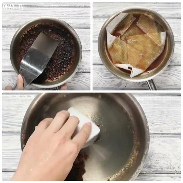 1. Cách nhanh nhất để làm sạch một chiếc nồi bị cháy đáy?,mẹo hay