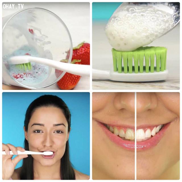 4. Đánh răng với trái cây để có một hàm răng trắng sáng,mẹo làm đẹp,phụ nữ làm đẹp,làm trắng da