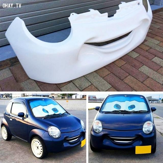 23. Tấm chắn của xe ô tô Suzuki Twin có hình mặt cười như bộ phim hoạt hình The Cars trong đời thực. ,phát minh hữu ích,người nhật bản