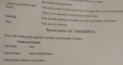 Booking.com xác nhận việc chuyển 100% thông tin thẻ tín dụng cho khách sạn