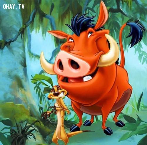 Timon và Pumbaa trong bộ phim hoạt hình Vua sư tử...,nhân vật hoạt hình,hoạt hình disney