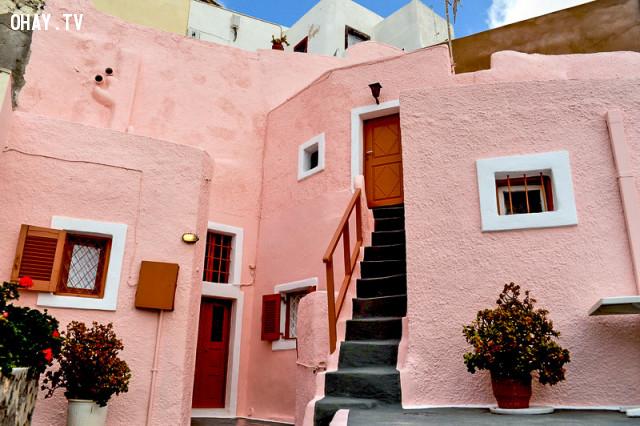 The Pink Cave House, Santorini,màu hồng,địa điểm sống ảo