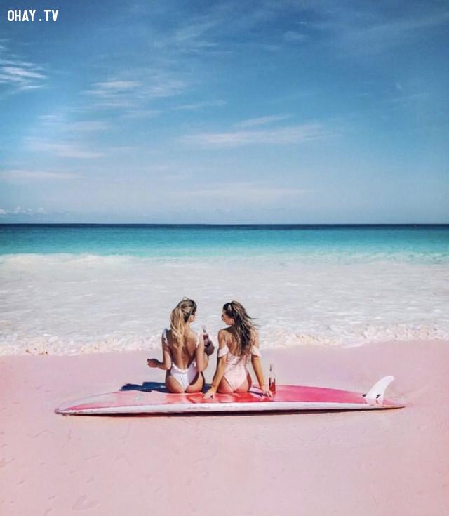Pink Sand Beach, Bahamas,màu hồng,địa điểm sống ảo