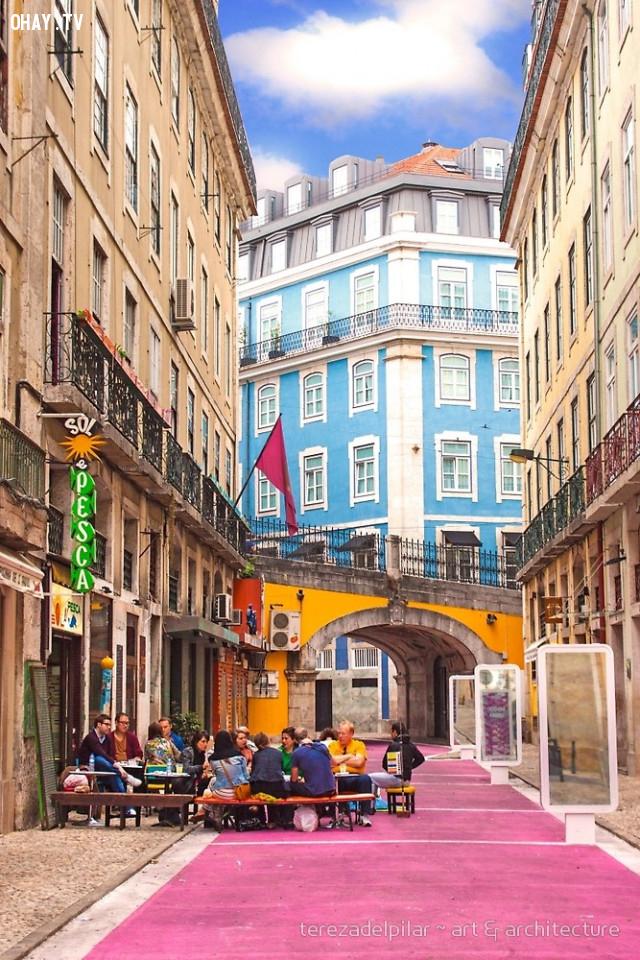 Pink Street, Portugal,màu hồng,địa điểm sống ảo