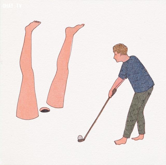 Đàn ông cho rằng, chinh phục phụ nữ không khác gì đánh bóng vào hố golf, trúng thì vui mừng, trượt thì sẽ mở ra cánh cửa mới,ảnh biếm họa,tình yêu