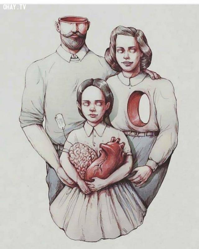 5. Con cái bán rẻ trí óc của người cha và tấm lòng của người mẹ,Ảnh biếm họa,suy ngẫm,thời đại ngày nay