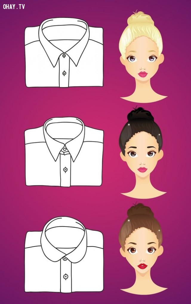 1. Chọn cổ áo phù hợp với khuôn mặt,mẹo thời trang
