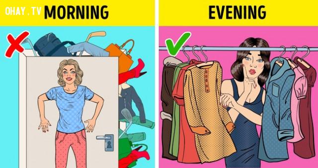5. Chuẩn bị bữa ăn trưa và trang phục trước,buổi tối,sống khỏe,việc nên làm
