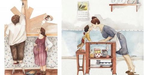 Bộ tranh ý nghĩa về khoảnh khắc hạnh phúc gia đình