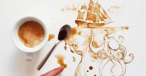 Những tác phẩm ngẫu hứng sáng tạo từ trà và cà phê