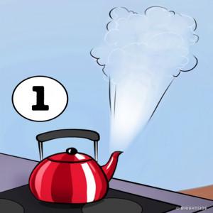 1. Tắt bình nước đun sôi trước