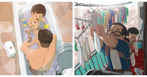 Tan chảy với bộ tranh minh họa việc nuôi dạy con của một ông bố đơn thân