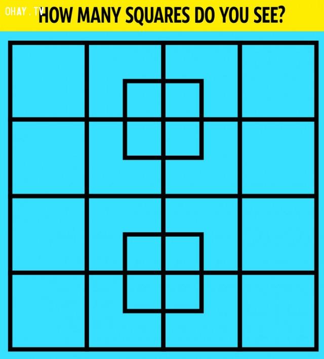 2. Bạn nhìn thấy được bao nhiêu hình vuông?,câu đố hại não,trắc nghiệm,giải đố